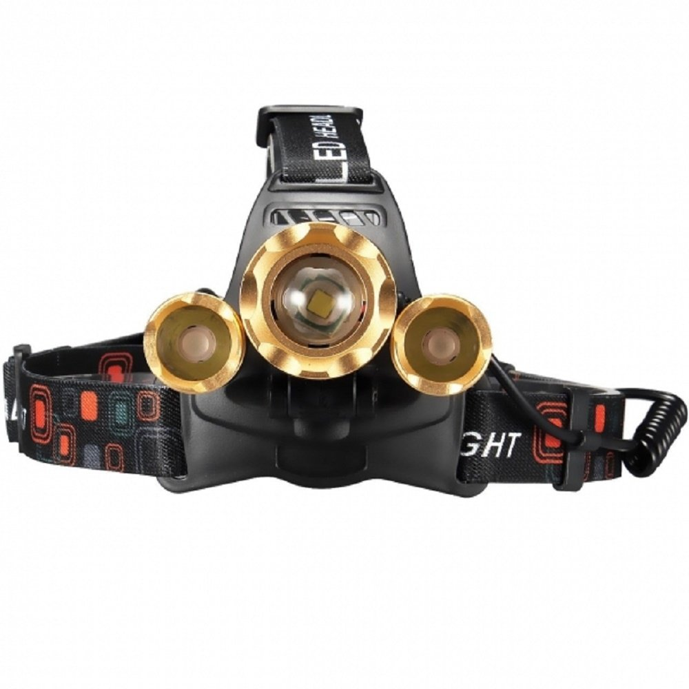 Svitlife New Style 3 xT6 1500LM Stretchable Focusing 90-Degree Adjustable Waterproof LED Headlamp for Outdoor Activities Black & Luxury Golden by Svitlife (Image #2)