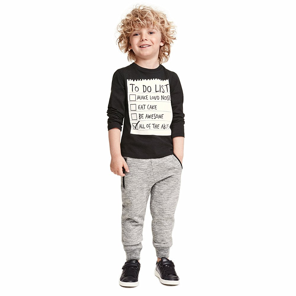 Miniowl Boys` To Do List Printed Long Sleeve T-Shirt and Knitted Long Pant Outfit 2pcs Set 6T