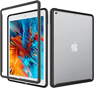 iPad 8th/7th 10.2 inch Case with Built-in Screen Protector Cover & Full-Body Shockproof Rugged Protective Case for 2020 2019 iPad 7th/8th Gen 10.2 inch Tablet (Black)