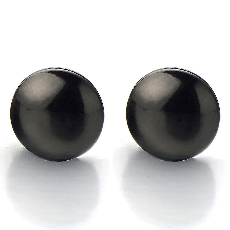 2pcs Magnetic Black Circle Stud Earrings for Men Women, Non-Piercing Clip On Cheater Fake Ear Gauges(CA) COOLSTEELANDBEYOND ME-314-CA