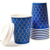 Disposable Insulated Paper Coffee Cups - Quantity 100 cups per pack-12 oz. Cups & Lids - Stylish and Elegant! Perfect For On-The-Go Hot or Cold Beverages. Best Quality and FDA Certified.