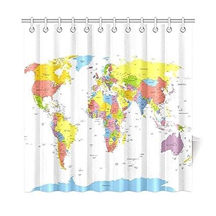 JackieTD Globe Art Earth For HomeWorld Map Fabric Shower Curtain Bathroom Sets 72 X