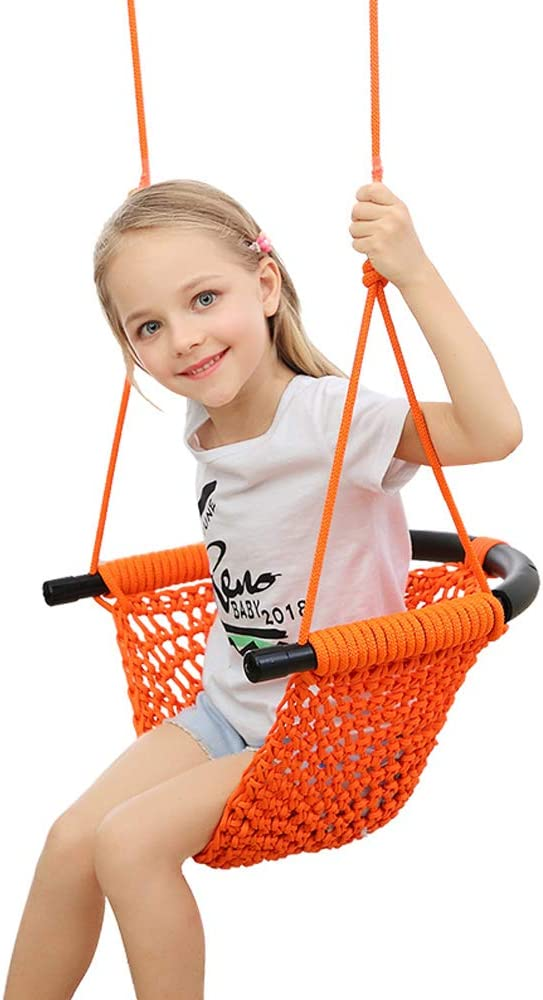 Patent Pending JKsmart Swing Seats for Kids Heavy Duty Rope Play Secure Children Swing Set,Perfect for Indoor,Outdoor,Playground,Home,Tree,with Snap Hooks and Swing Straps,440 lbs Capacity,Orange