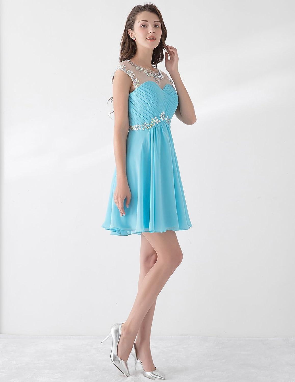 Dresstells Damen elegant Cocktailkleid Chiffon Kurz ...