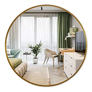 Buy Pexfix Round Wall Mirror 24 Inch Aluminum Alloy Frame Large Round Mirror Decorative Mirror Wall Mounted Mirror For Bedroom Bathroom Entryway Vanity Dining Room Living Room Gold Online At Low Prices In India