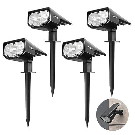 4 Pack 12 LED 】 Mpow Foco Solar Exterior, lámparas solares ...