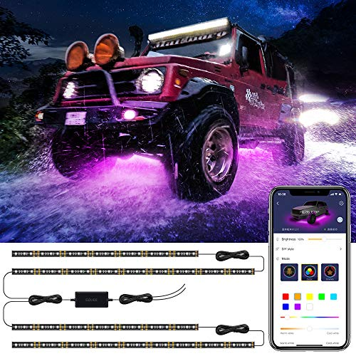 Car Underglow LED Lights, Govee Exterior Car Lights with Ultra Long 2-in-1 Design (2 x 47 inch + 2 x 35 inch), App Control Under LED lights for Car with 16 Million Colors, Sync to Music, DC 12-24V
