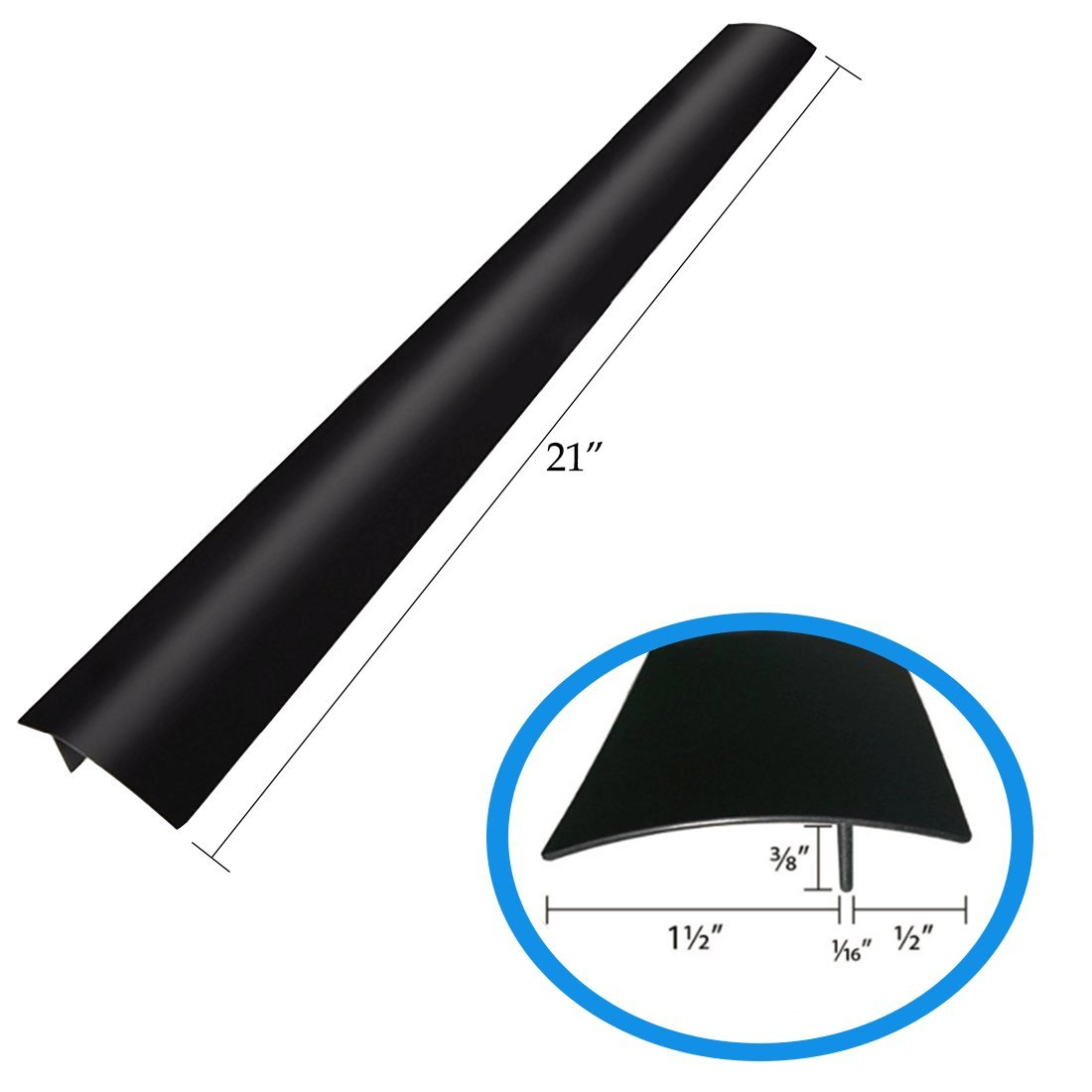 2 X Silicone Stove Gap Cover | Counter Top Stove Fills Gap Between Countertop and Stove | Seals Spills Between Stovetops, Washing Machines, Tables and more - Glossy Black BecAzor ERa-153