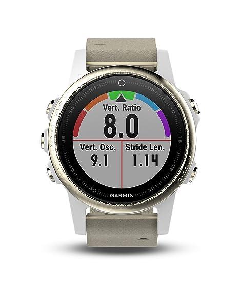Garmin fēnix 5s, Premium and Rugged Smaller-Sized Multisport GPS  Smartwatch, Sapphire Glass, Champagne w/ Gray Band