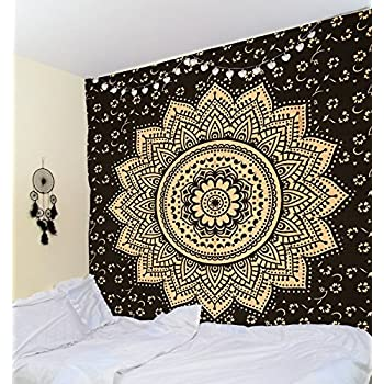 original gold black orion medallion wall hanging ombre mandala tapestry indian wall decor