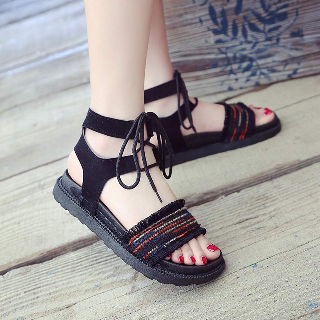 Lurryly Womens Ankle Strap Bohemia Open Toe Lace Up Strappy Platform Sandals Elastic Shoe