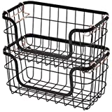 Amazon Basics Stackable Metal Wire Storage Basket Set for Kitchen or Bathroom - Black/Rose Gold