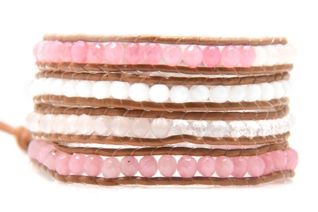 Pink White Jade and Clear Crystal Wrap Bangle Bracelet Brown Leather Multilayer 4 mm Bangle Fashion Style by Blupear