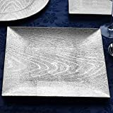 BalsaCircle 6 pcs 13-Inch Silver Wooden Textured Acrylic Square Charger Plates - Dinner Chargers Wedding Party Supplies Holidays