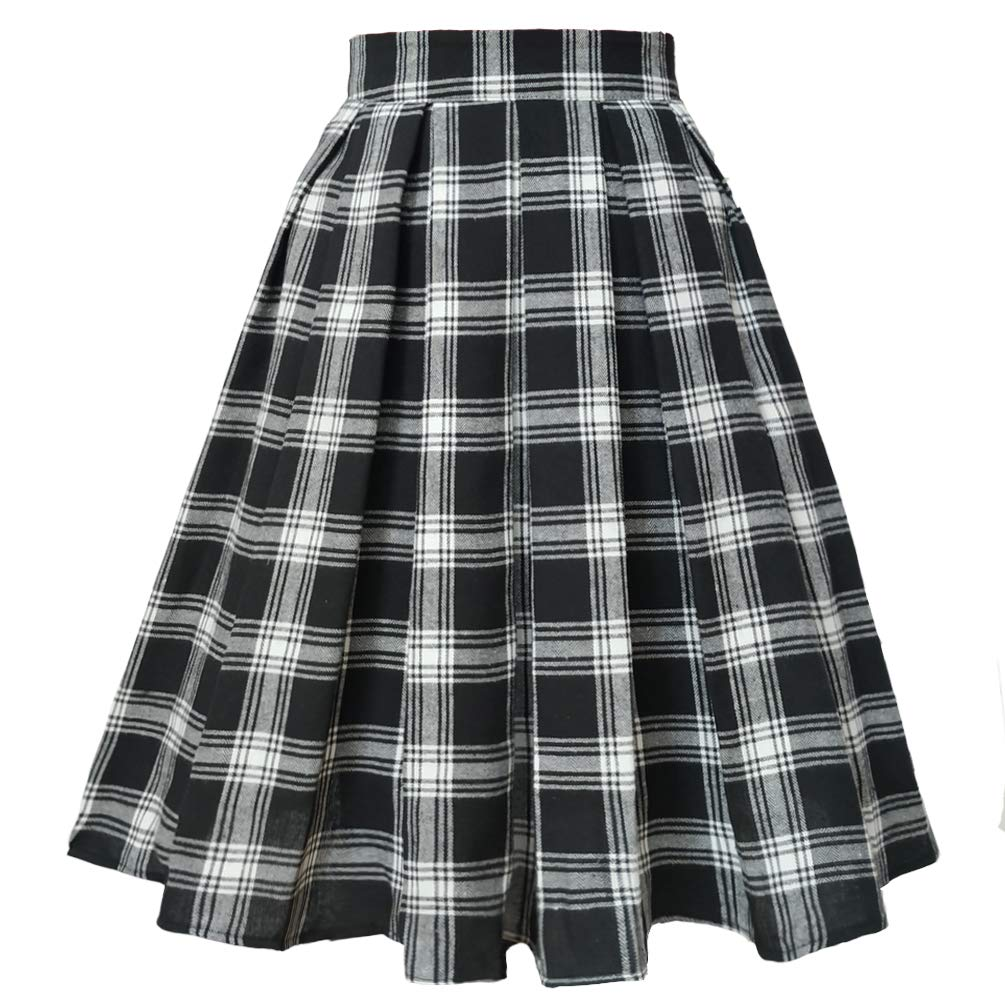 1940s Style Skirts- Vintage High Waisted Skirts T-Crossworld Womens Vintage Flared High Waist A Line Pleated Midi Skirt with Pockets $24.99 AT vintagedancer.com