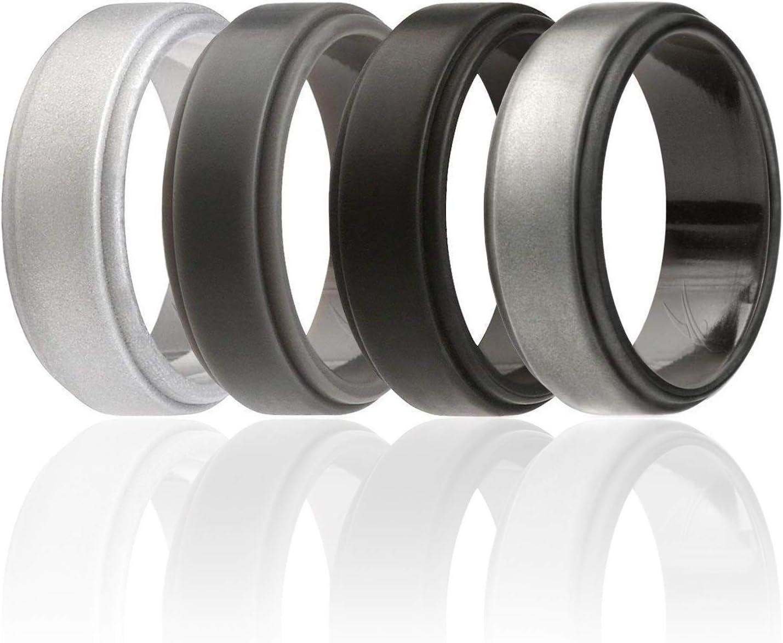 ROQ Lot de 4 alliances en silicone pour homme et femme 6 mm