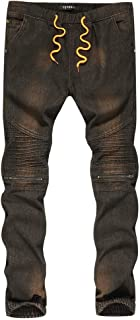 Topgrowth Jeans Uomo Strappati Scala Denim Biker Pantaloni Slim Fit Jeans Casual Vintage Hip Hop Pantaloni da Lavoro Denudati Pantalone con Zip