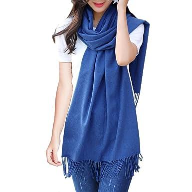 ISASSY Écharpe Femme Chaud Doux Châle Cachemire Foulard Pashmina Plaid Uni  Hiver Bleu b254a9daa27