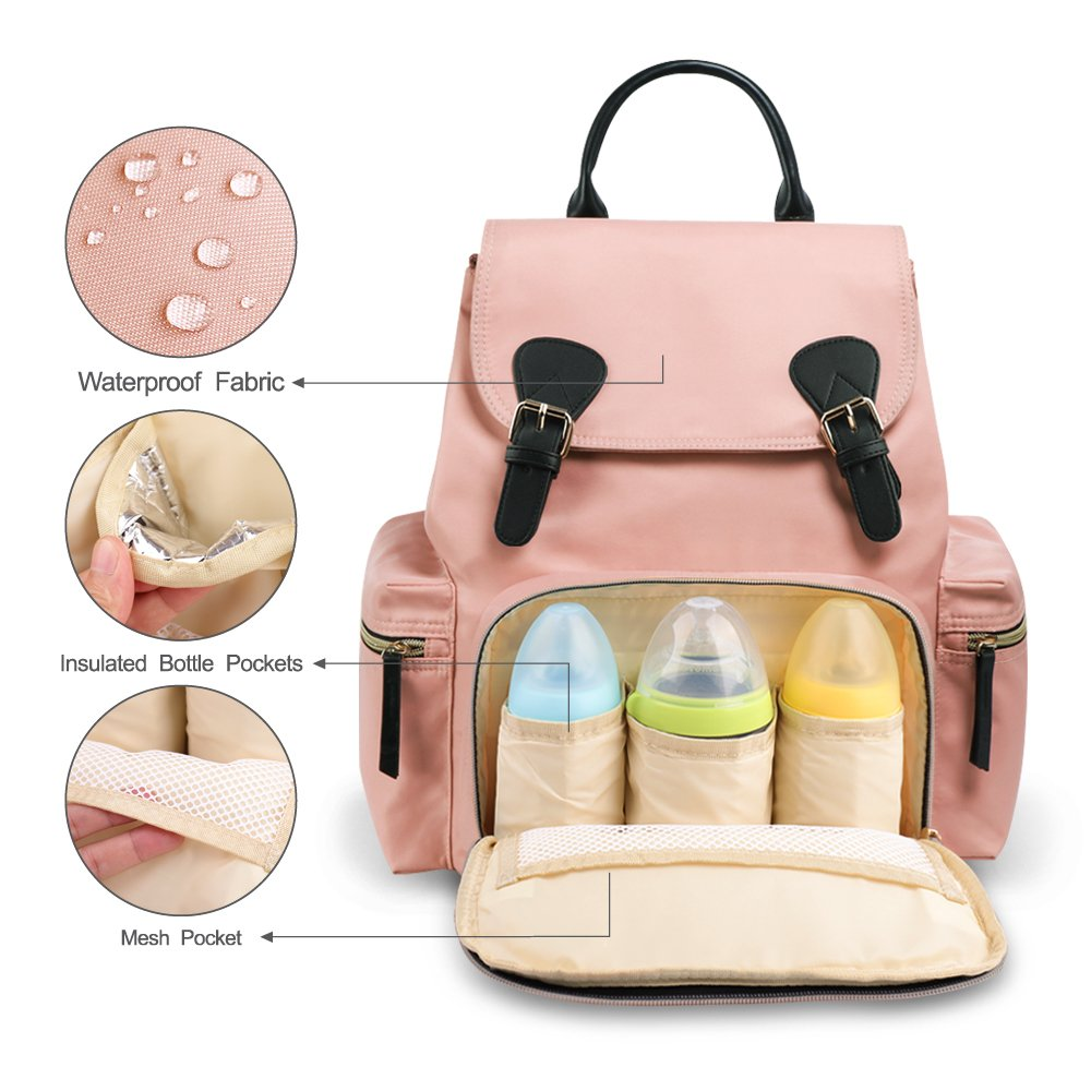 Large Capacity and Durable Black Multifunction Stylish Travel Backpack Maternity Nappy Bag for Baby Care Vogshow Waterproof Diaper Bag