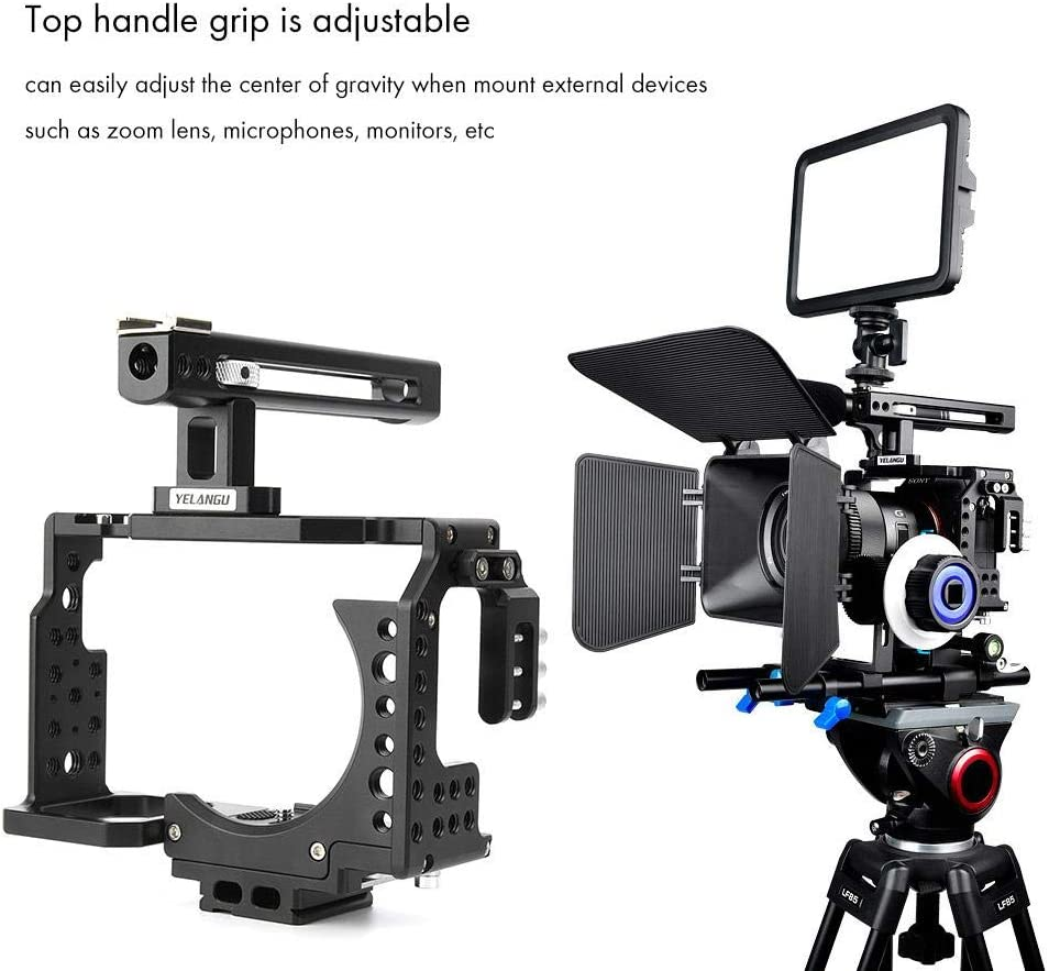 Black YINZHI Camera Cage Stabilizer Camera Cage Handle Stabilizer for Sony A6300 // A6000 Color : Black