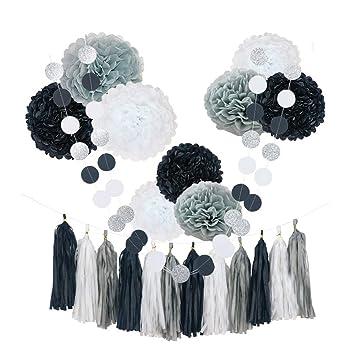 Amazoncom Chotika 23pcs Black White Tissue Paper Flowers Pom Poms