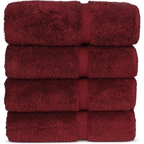 Luxury Premium Long-Stable Hotel & Spa Turkish Cotton 4-Piece Eco-Friendly Bath Towel Set (Cranberry)