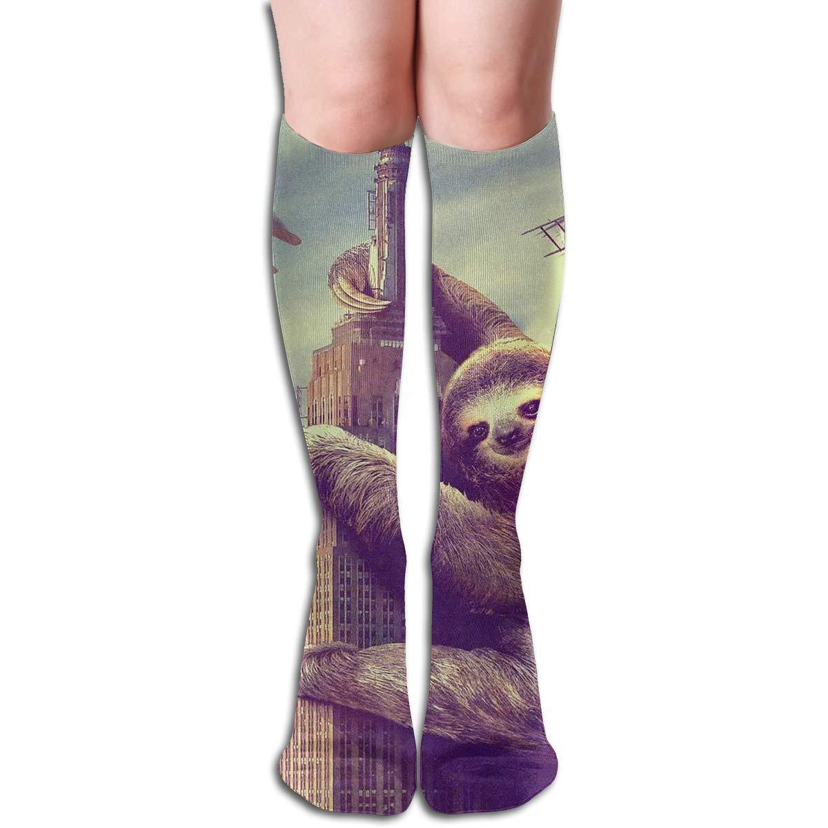 HOJJP Socks Tube Knee High Socks 50CM Sloth Climb The Building Men's Over-The-Calf Tube Sports Socks Extra Long Compression Stocking