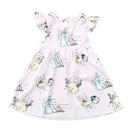 63b4f49d1d2d Image Unavailable. Image not available for. Color: ❤ Mealeaf ❤ Toddler Kids  Baby Girl Clothes Cartoon Princess Sleeveless ...