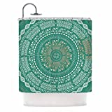 Exotic Floral Medallion Style, Graphic Top Shower Curtain, Bold Vibrant Flowers Nature Motif, Premium Modern Home Adults Kids Bathroom Decoration, Geometric Polka Dots Design, Mint Green, Size 69 x 70
