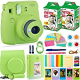 FujiFilm Instax Mini 9 Instant Camera + Fuji Instax Film (40 Sheets) + Bundle - Carrying Case, Color Filters, Photo Album, Stickers, Selfie Lens + MORE(Lime Green)
