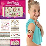 GirlZone GIFTS FOR GIRLS: Metallic Flash Tattoos For Kids - Temporary Flash Tattoos - 5 Card Pack - 65 Designs. Best Birthday Present Gifts For Girls Age 3 4 5 6 7 8 9 + years old