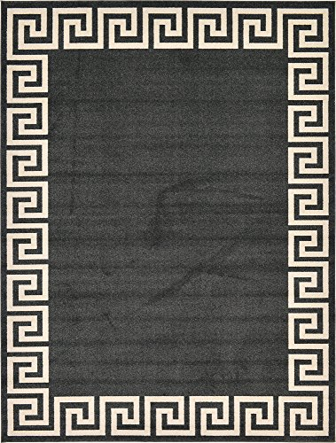 Unique Loom Athens Collection Geometric Casual Modern Border Charcoal Area Rug (9