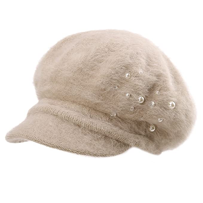 7feb15723ec0a SIGGI Womens Rabbit Fur Winter Cap Cold Weather Newsboy Hat Ladies Berets  Visor Cloche Hat Lined  Amazon.ca  Clothing   Accessories
