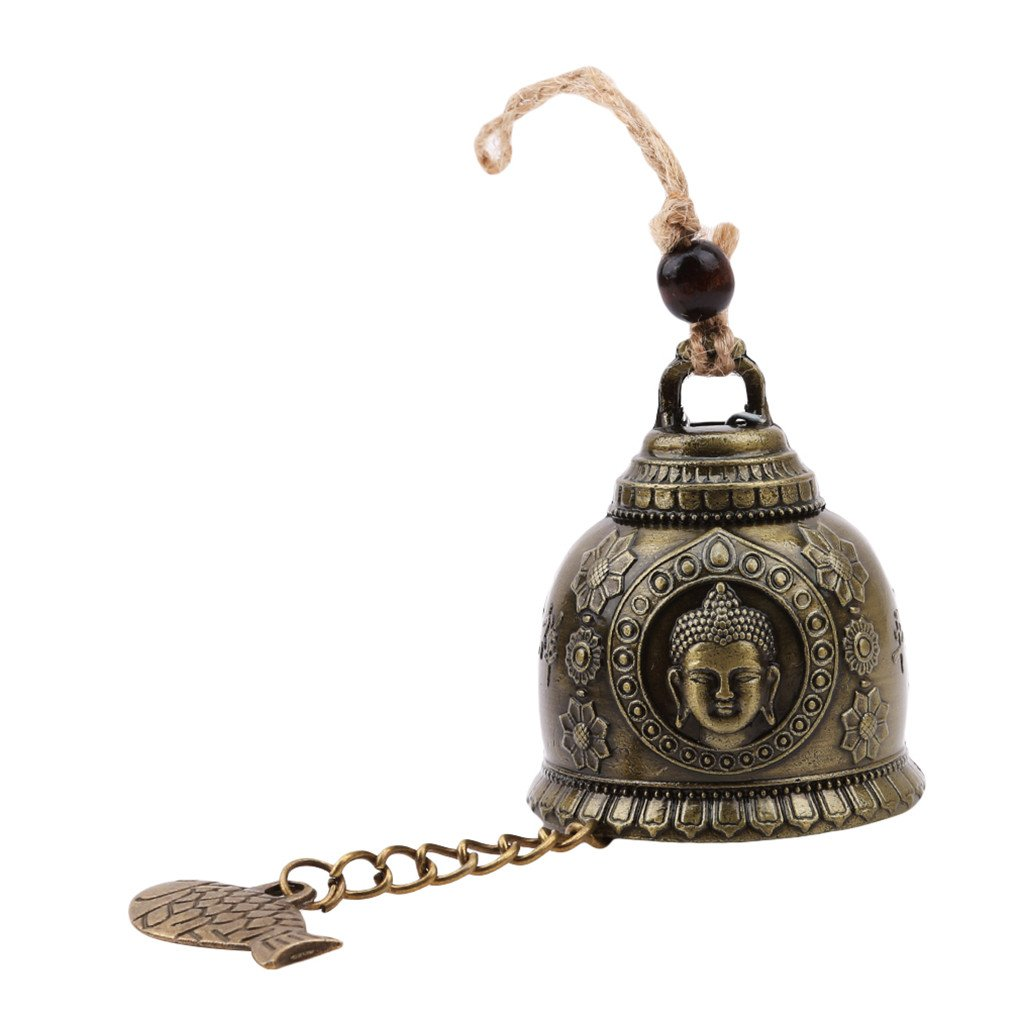CanVivi Bronze Chinese Feng Shui Alloy Wind Chimes Ornaments Buddha Bell Pendant Home Car Accessories Anti-Theft Door Hanging