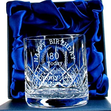 Personalised Crystal Whisky Glass 1st Wedding Anniversary Gift  In Blue Box