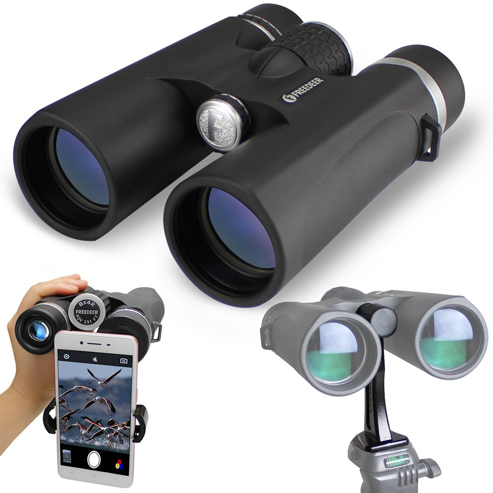 10x42 Binoculars for Adults, Compact HD Professional Telescope, BAK4 Prism & FMC Lens with Phone Adapter & Tripod Adaptor Binocular for Bird Watching, Travelling, Stargazing, Hunting, Concert, Sports by FREEDEER