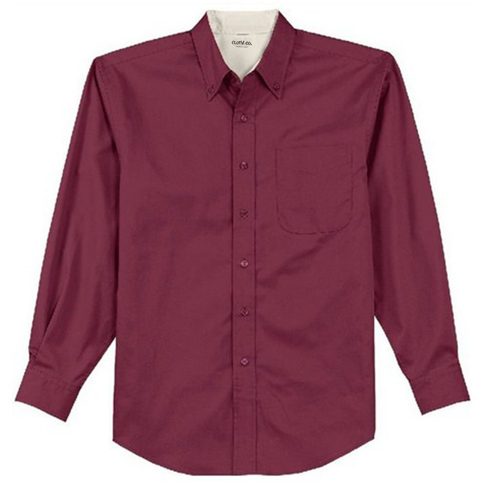 Clothe Co Mens Long Sleeve Wrinkle Resistant Easy Care Button Up Shirt