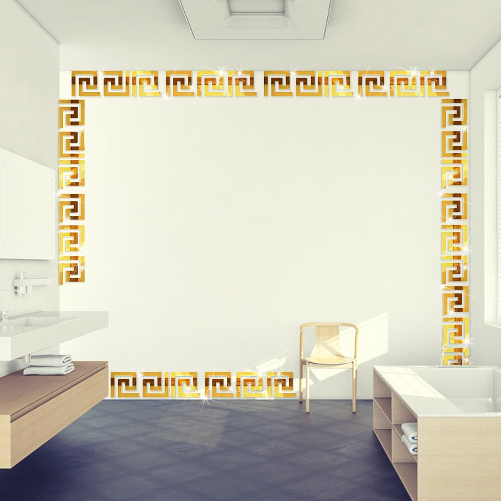 Acrylic Mirror Wall Stickers For Wall Top Living Room Bedroom Ceiling Roof TV background Waist line Decorative Mirror Decals & Murals (Big, Gold) HEYING