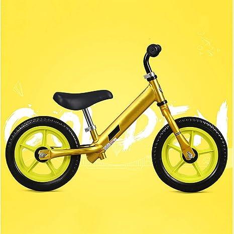 YUN GAME@ Bici del Balance para, Bici del Empuje del niño con el neumático de la puntura-Prueba para el niño, Bici del Planeador de 12 Pulgadas Embroma,Gold: Amazon.es: Deportes y aire libre