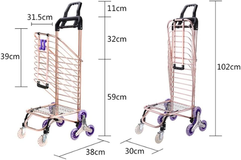 Kerryshop Shopping Carts Grocery Shopping Cart Folding Portable Shopping Cart Home Pulling Goods Climbing Stairs Trailer Portable Hand Truck Color : B