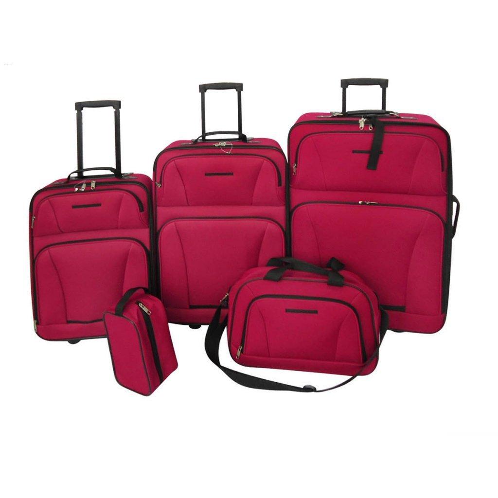 Daonanba Practical 5 Piece Travel Luggage Set Waterproof Excellent Suitcase Set Red