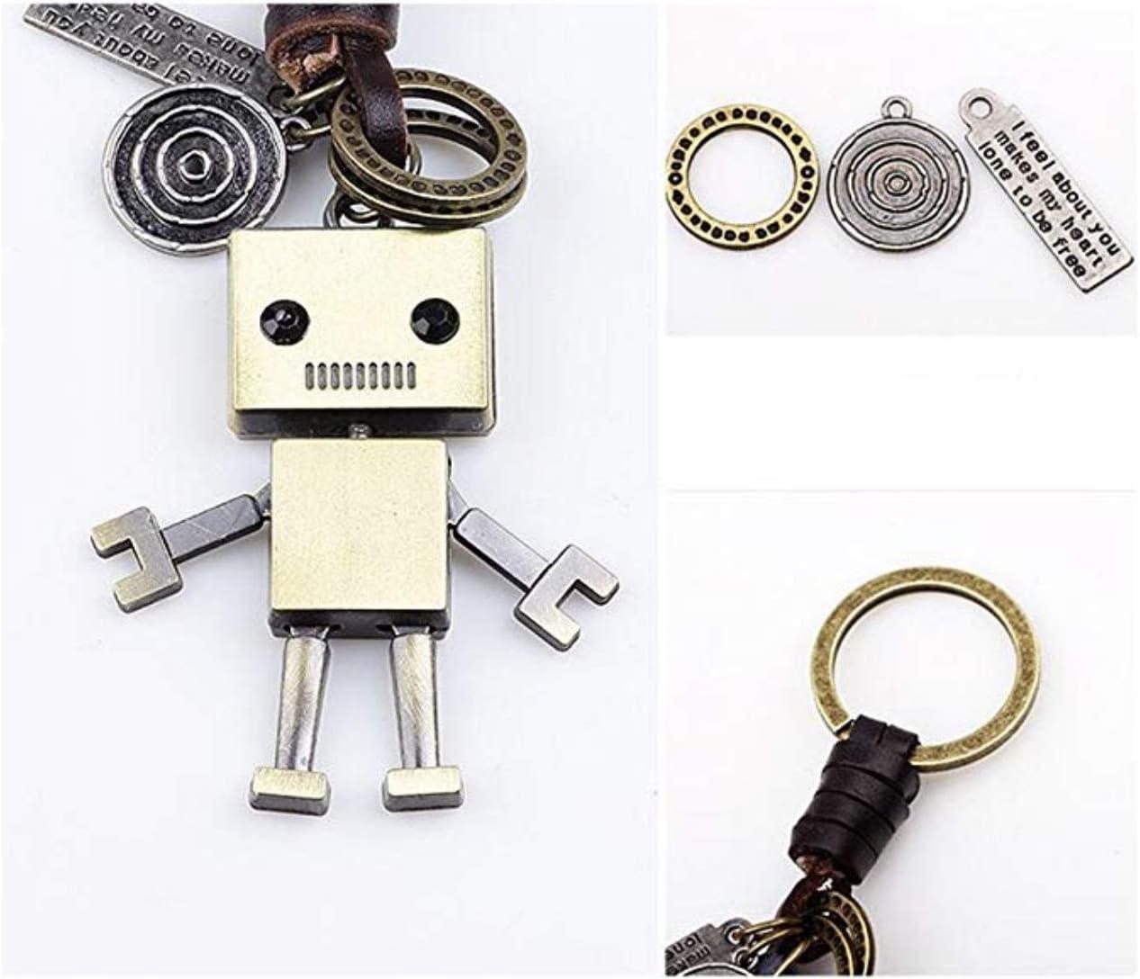 Llavero de Cuero Trenzado con cord/ón Adorno Hztyyier Llavero Colgante de Robot Vintage decoraci/ón de Llaves