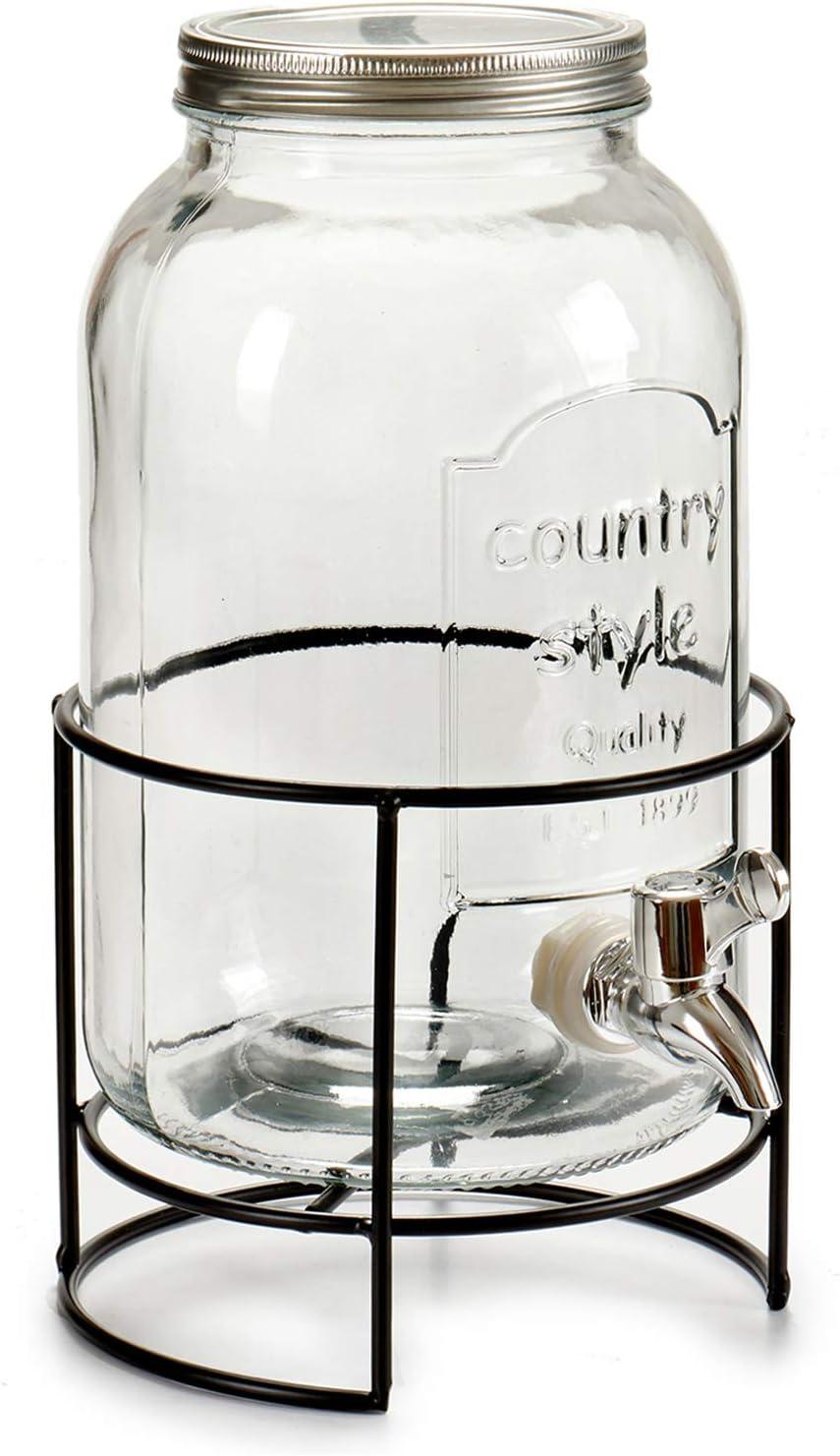 TU TENDENCIA ÚNICA Tarro con Grifo Dispensador de Cristal de 3,5L. Tapa de Metal. Base de Metal Negro Resistente. Medidas: 22x17x30 cm