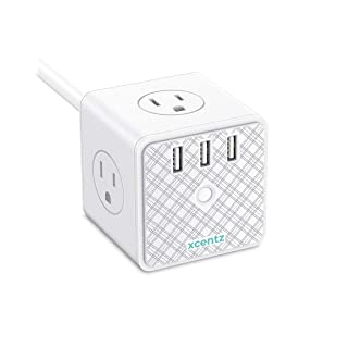 Xcentz Power Strip Cube White with USB 4 Outlet and 3 USB Ports Surge Protector Power Strip Flat Plug with 5 ft Extension Cord, Overload Protection, Switch Control Compact for Desktop, Office, Home
