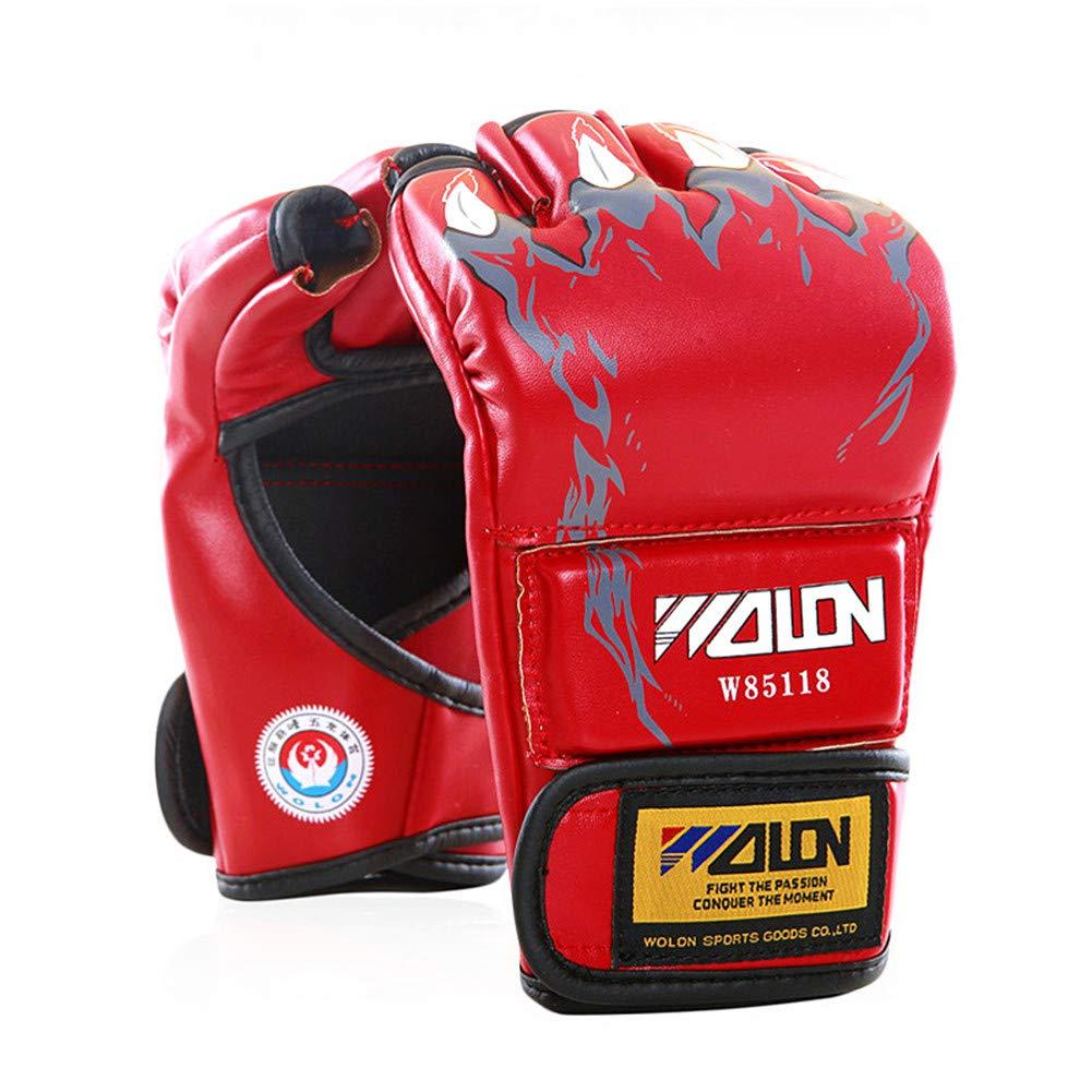 Boxing Punching Sanda Gloves Adult PU Leather Grappling Training Half Finger Gloves Tiger Muay Thai Sanda Men Boxing Pads CARWORD