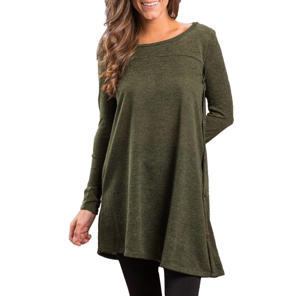 Blouse For Women-Clearance Sale, Farjing Solid O-Neck Long Sleeve Button Irregular Loose Blouse Tops T-Shirt(US:4/S,Army Green)