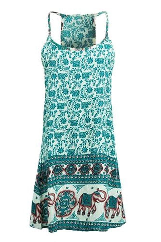 d860c08215e Amazon.com  Women Sun Dress Floral Elephant Print Spaghetti Strap  Sleeveless Swing Beach Mini Dress  Clothing