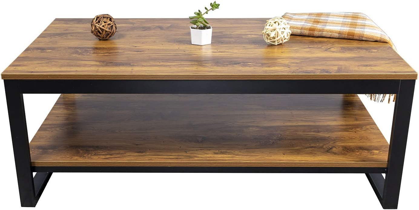 DIMAR garden Coffee Table for Living Room Furniture Set,Wood and Metal Frame Modern Coffee Table with Storage Shelf,Brown