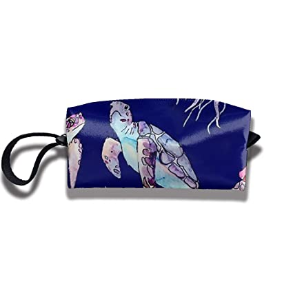 1ed8ec6519 Image Unavailable. Image not available for. Color  TR2YU7YT Cartoon Sea  Turtle Jellyfish Portable Hanging Travel Toiletry Bag Makeup Organizer ...