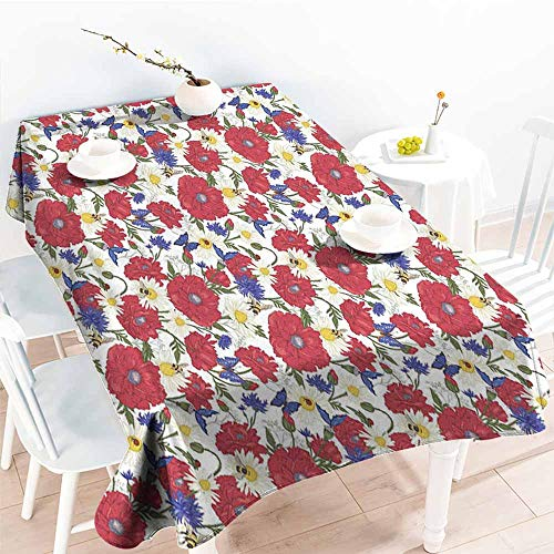 AndyTours Washable Tablecloth,Floral Blooming Red Poppies Chamomile Ladybird and Daisies Bumblebee Bees and Butterflies,Party Decorations Table Cover Cloth,W60x84L Multicolor ()